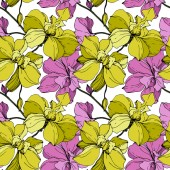 Vector pink and yellow orchids isolated on white Seamless background pattern Fabric wallpaper print texture