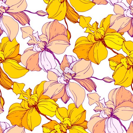 Illustration for Vector yellow orchids isolated on white. Seamless background pattern. Fabric wallpaper print texture. - Royalty Free Image