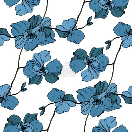 Illustration for Vector blue orchids isolated on white. Seamless background pattern. Fabric wallpaper print texture. - Royalty Free Image