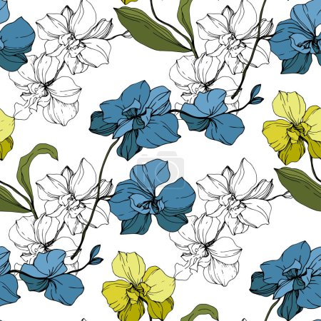 Illustration for Vector blue and yellow orchids isolated on white. Seamless background pattern. Fabric wallpaper print texture. - Royalty Free Image