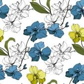 """Постер, картина, фотообои """"Вектор синие и желтые орхидеи, изолированные на белом. Бесшовный фон узор. Обои для рабочего стола ткань печати текстуры"""""""