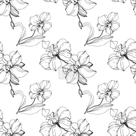 Vector black orchids isolated on white. Seamless background pattern. Fabric wallpaper print texture.