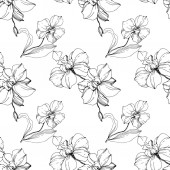 Vector black orchids isolated on white Seamless background pattern Fabric wallpaper print texture