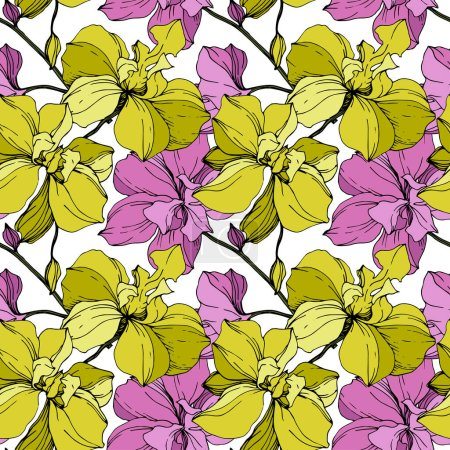 Illustration for Vector pink and yellow orchids isolated on white. Seamless background pattern. Fabric wallpaper print texture. - Royalty Free Image