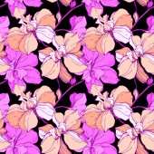 Vector pink and purple orchids isolated on black Seamless background pattern Fabric wallpaper print texture