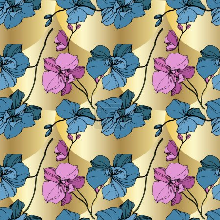 Illustration for Vector blue and yellow orchids on golden background. Seamless background pattern. Fabric wallpaper print texture. - Royalty Free Image