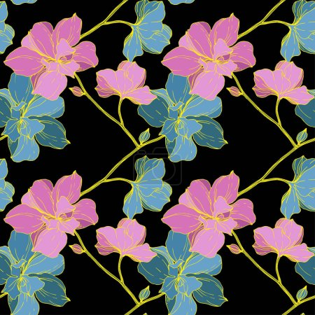 Illustration for Vector blue and yellow orchids isolated on black. Seamless background pattern. Fabric wallpaper print texture. - Royalty Free Image