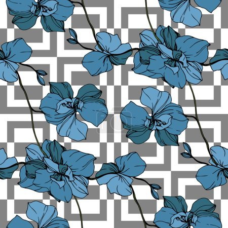 Illustration for Vector blue orchids on white geometric background. Seamless background pattern. Fabric wallpaper print texture. - Royalty Free Image