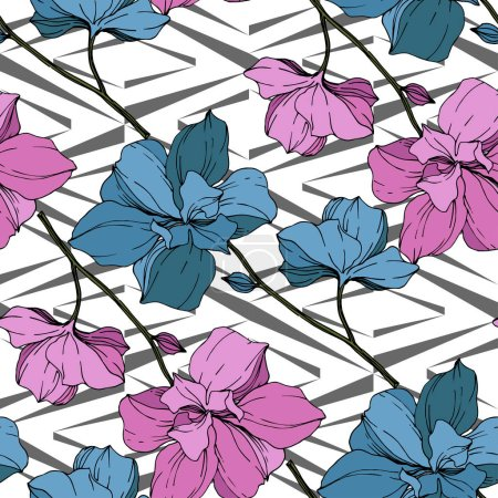 Illustration for Vector blue and pink orchids on white geometric background. Seamless background pattern. Fabric wallpaper print texture. - Royalty Free Image