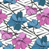 Vector blue and pink orchids on white geometric background Seamless background pattern Fabric wallpaper print texture