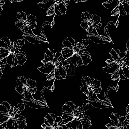 Illustration for Vector white orchids isolated on black. Seamless background pattern. Fabric wallpaper print texture. - Royalty Free Image