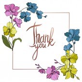 Vector blue pink and yellow orchids isolated on white Frame border ornament with thank you lettering