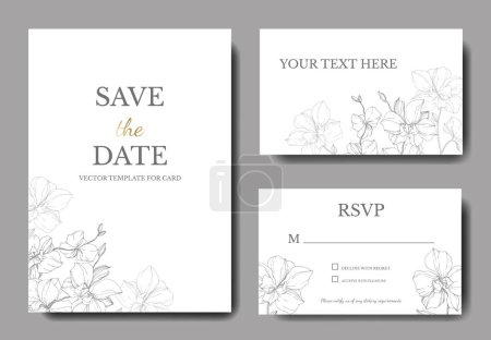 Illustration for Vector silver orchids isolated on white. Invitation cards with save the date lettering - Royalty Free Image