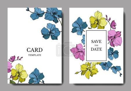 Illustration pour Orchidées vectorielles bleues, roses et jaunes isolées sur blanc. Cartes d'invitation avec enregistrer le lettrage de date - image libre de droit