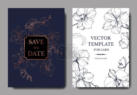 Illustration for Vector blue and golden orchids isolated on white. Invitation cards with save the date lettering - Royalty Free Image