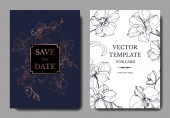 Vector blue and golden orchids isolated on white Invitation cards with save the date lettering