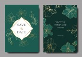 Vector golden orchids isolated on green Invitation cards with save the date lettering
