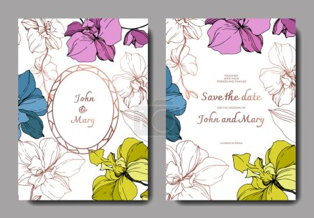 Illustration for Vector blue, pink, golden and yellow orchids isolated on white. Invitation cards with save the date lettering - Royalty Free Image