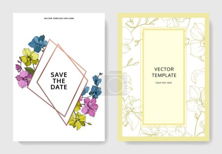 Illustration for Vector blue, pink and yellow orchids isolated on white. Invitation cards with save the date lettering - Royalty Free Image