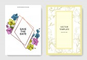 Vector blue pink and yellow orchids isolated on white Invitation cards with save the date lettering