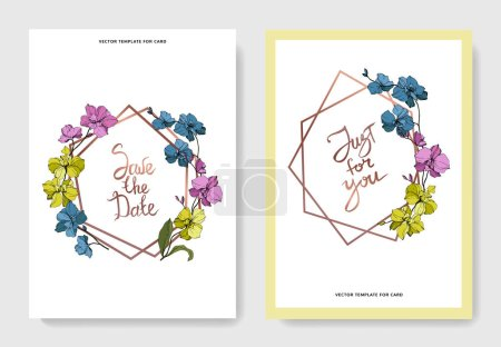 Illustration for Vector blue, pink and yellow orchids isolated on white. Invitation cards with save the date and just for you lettering - Royalty Free Image
