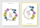 Vector blue pink and yellow orchids isolated on white Invitation cards with save the date and just for you lettering