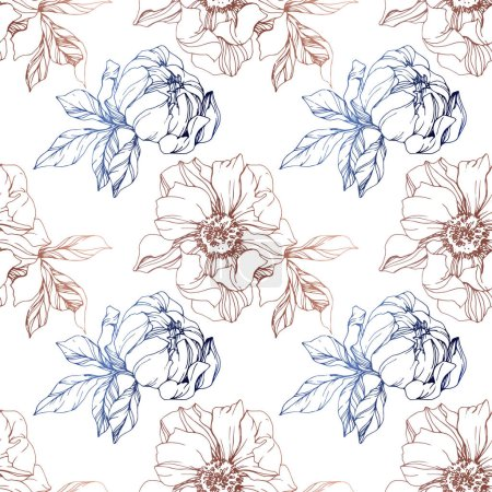 Illustration for Vector blue and brown isolated peonies sketch on white background. Engraved ink art. Seamless background pattern. Fabric wallpaper print texture. - Royalty Free Image