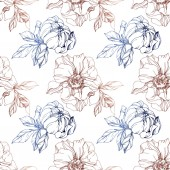 Vector blue and brown isolated peonies sketch on white background Engraved ink art Seamless background pattern Fabric wallpaper print texture