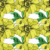 Vector yellow isolated peonies illustration on white background Engraved ink art Seamless background pattern Fabric wallpaper print texture