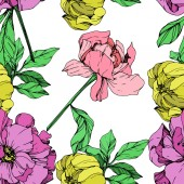 Vector pink purple and yellow peonies illustration on white background Engraved ink art Seamless background pattern Fabric wallpaper print texture