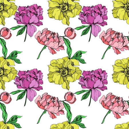 Illustration for Vector pink, purple and yellow peonies illustration on white background. Engraved ink art. Seamless background pattern. Fabric wallpaper print texture. - Royalty Free Image