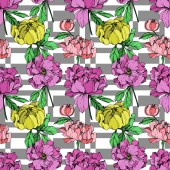 Vector pink purple and yellow peonies illustration on geometric background Engraved ink art Seamless background pattern Fabric wallpaper print texture