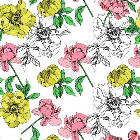Illustration for Vector yellow and pink isolated peonies illustration on white background. Engraved ink art. Seamless background pattern. Fabric wallpaper print texture. - Royalty Free Image