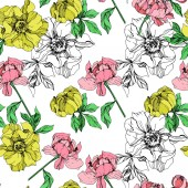 Vector yellow and pink isolated peonies illustration on white background Engraved ink art Seamless background pattern Fabric wallpaper print texture