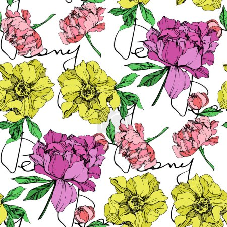 Illustration for Vector purple, yellow and pink isolated peonies with peony letterings illustration on white background. Engraved ink art. Seamless background pattern. Fabric wallpaper print texture. - Royalty Free Image