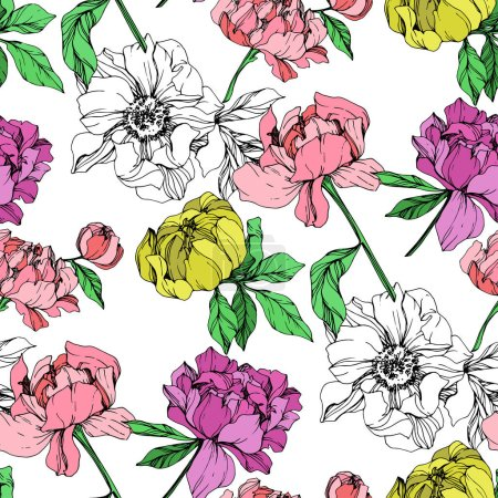 Illustration for Vector purple, yellow and pink isolated peonies illustration on white background. Engraved ink art. Seamless background pattern. Fabric wallpaper print texture. - Royalty Free Image