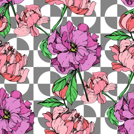 Illustration for Vector pink and purple peonies illustration on geometric background. Engraved ink art. Seamless background pattern. Fabric wallpaper print texture. - Royalty Free Image