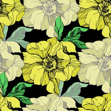 Illustration for Vector yellow isolated peonies illustration on black background. Engraved ink art. Seamless background pattern. Fabric wallpaper print texture. - Royalty Free Image