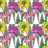 Vector pink and yellow peonies illustration on geometric background Engraved ink art Seamless background pattern Fabric wallpaper print texture