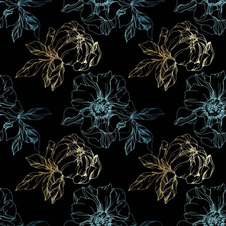Illustration for Vector blue and golden isolated peonies sketch on black background. Engraved ink art. Seamless background pattern. Fabric wallpaper print texture. - Royalty Free Image