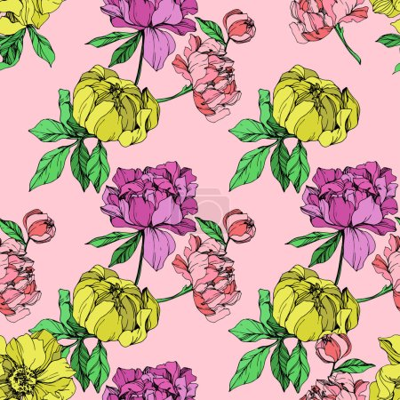 Illustration for Vector purple and yellow isolated peonies illustration on pink background. Engraved ink art. Seamless background pattern. Fabric wallpaper print texture. - Royalty Free Image