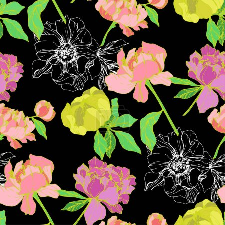 Illustration for Vector pink and yellow isolated peonies illustration on black background. Engraved ink art. Seamless background pattern. Fabric wallpaper print texture. - Royalty Free Image