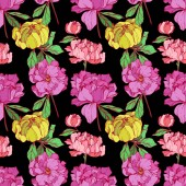 Vector pink and yellow isolated peonies illustration on black background Engraved ink art Seamless background pattern Fabric wallpaper print texture