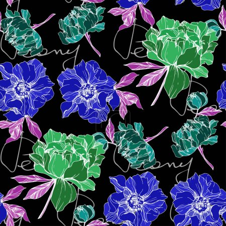 Illustration for Vector green and blue isolated peonies illustration with peony lettering on black background. Engraved ink art. Seamless background pattern. Fabric wallpaper print texture. - Royalty Free Image