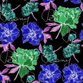 Vector green and blue isolated peonies illustration with peony lettering on black background Engraved ink art Seamless background pattern Fabric wallpaper print texture