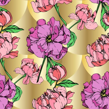Illustration for Vector purple and pink peonies illustration on golden background. Engraved ink art. Seamless background pattern. Fabric wallpaper print texture. - Royalty Free Image