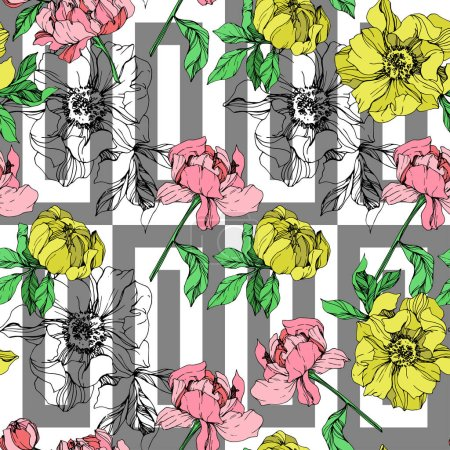 Illustration for Vector pink and yellow peonies illustration on geometric background. Engraved ink art. Seamless background pattern. Fabric wallpaper print texture. - Royalty Free Image