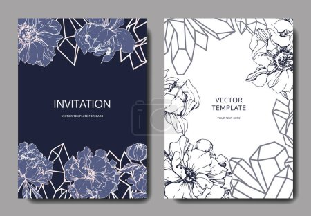 Illustration for Vector wedding elegant invitation cards with crystals and peonies illustration on white and blue background. - Royalty Free Image