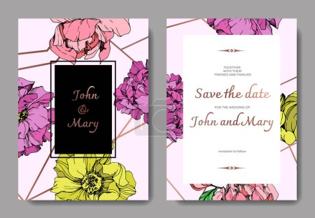 Illustration for Vector elegant invitation cards with purple, yellow and pink peonies illustration on pink background with save the date lettering. - Royalty Free Image