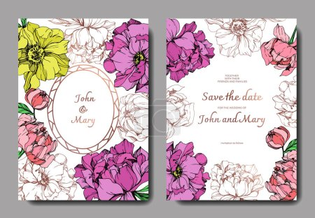Illustration for Vector elegant invitation cards with purple, yellow and golden peonies illustration on white background with save the date lettering. - Royalty Free Image